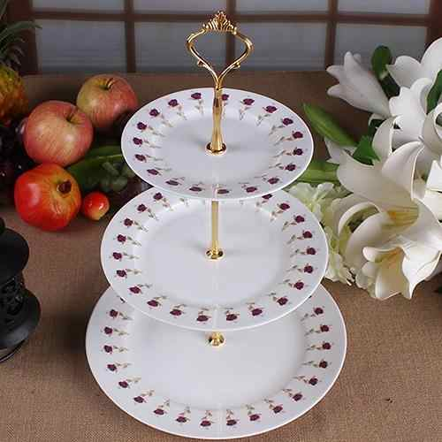 Hot Sales New 3-Tier Wedding Birthday Party Cake Plate Stand Sweets Tray Cupcake Display Tower No Cake Plate
