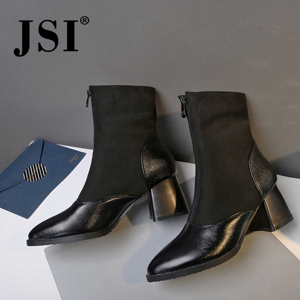 JSI Women Boots Mid-Calf Pointed Toe Microfiber Square Heel Shoes High Heels Solid Winter Zipper Basic Handmade Boots women je77