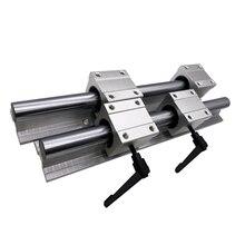 Free shipping 2pcs SBR16 linear rail length 300 350mm Linear shaft rail support + 4pcs SBR16UU Linear bearing block for cnc 6x silver cnbtr12mm shaft 200mm linear bearing rail w open linear motion block