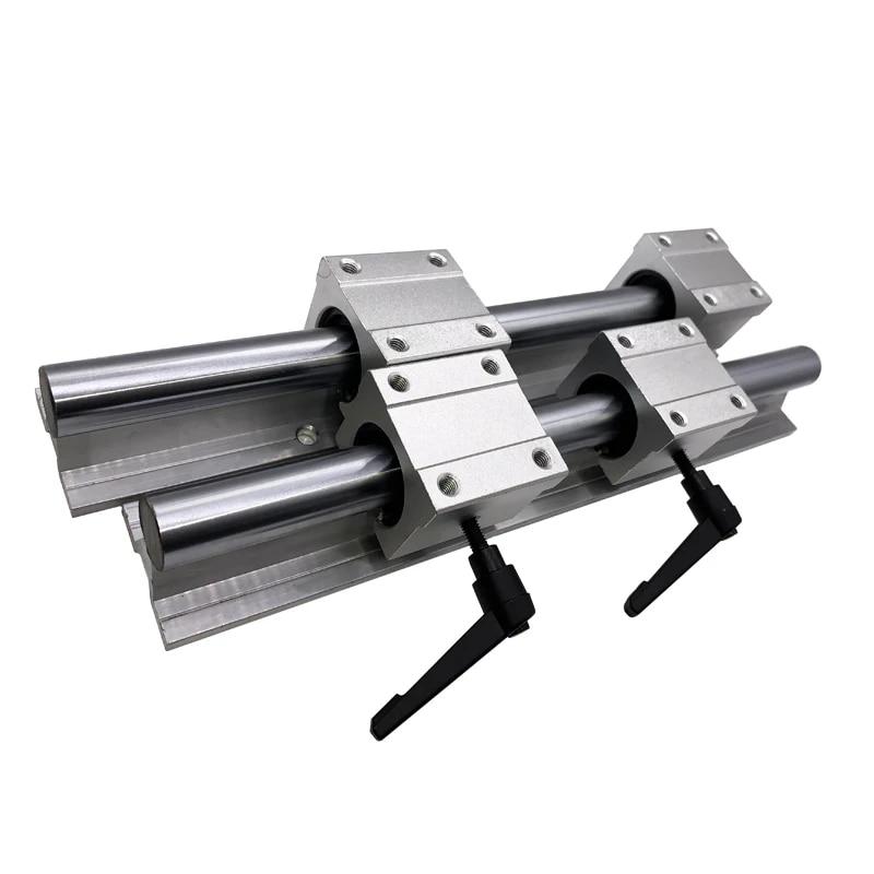 12mm SBR12-200mm LINEAR SLIDE GUIDE SHAFT 2 RAIL+4 SBR12UU Bearing Block CNC set