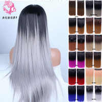 MUMUPI Women Clip In Hair Extension Ombre 24 Inches 3/4 Full Head Synthetic Hair Natural Straight Hairpiece Hair Pieces Headwear