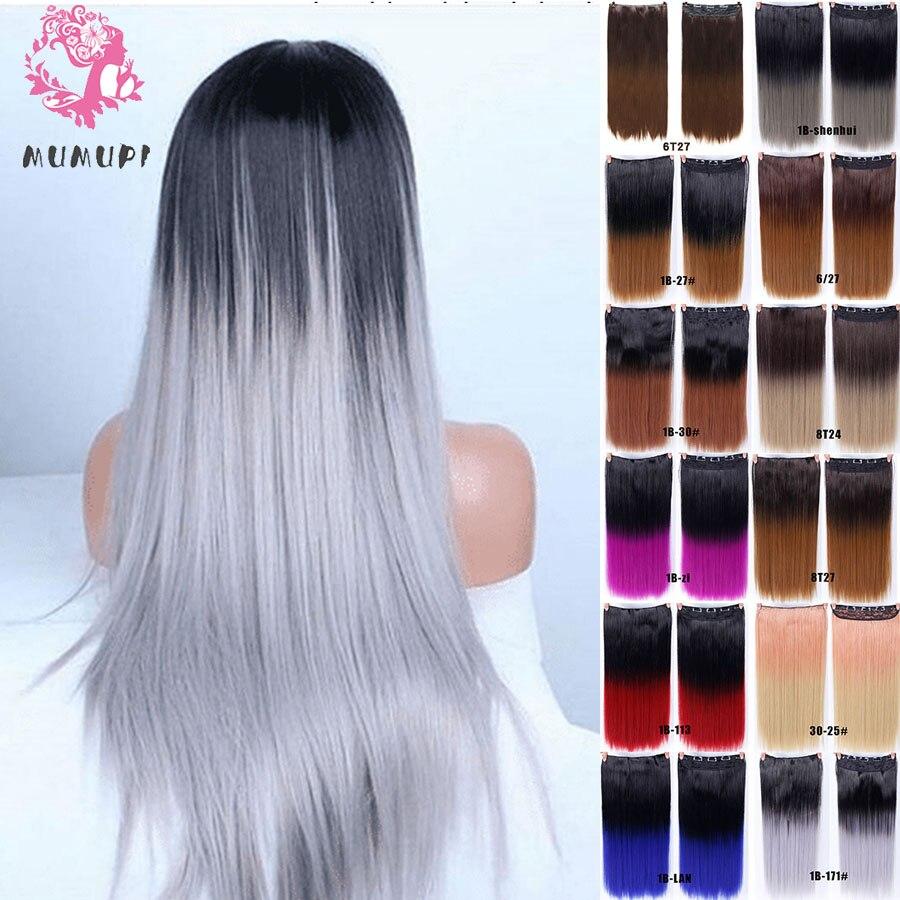 MUMUPI femmes pince dans l'extension de cheveux Ombre 24 pouces 3/4 pleine tête synthétique cheveux naturel droit postiche cheveux pièces chapeaux