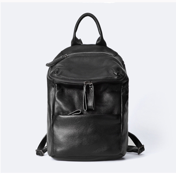 2020 100% Genuine Leather Daily Casual Backpack For Women Classic Black Student's Schoolbag Vintage Lady Knapsack High Quality