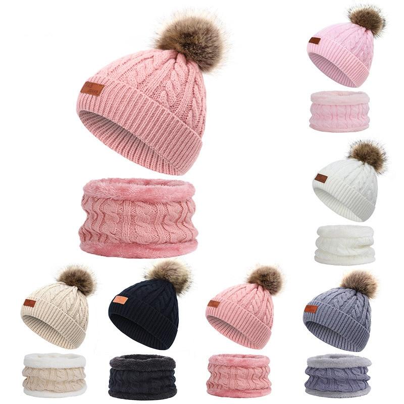 Chapéu do bebê cachecol terno novo outono inverno malhas crianças chapéu cachecol conjunto algodão meninas e meninos chapéus pescoço crianças cachecol 2-8 anos