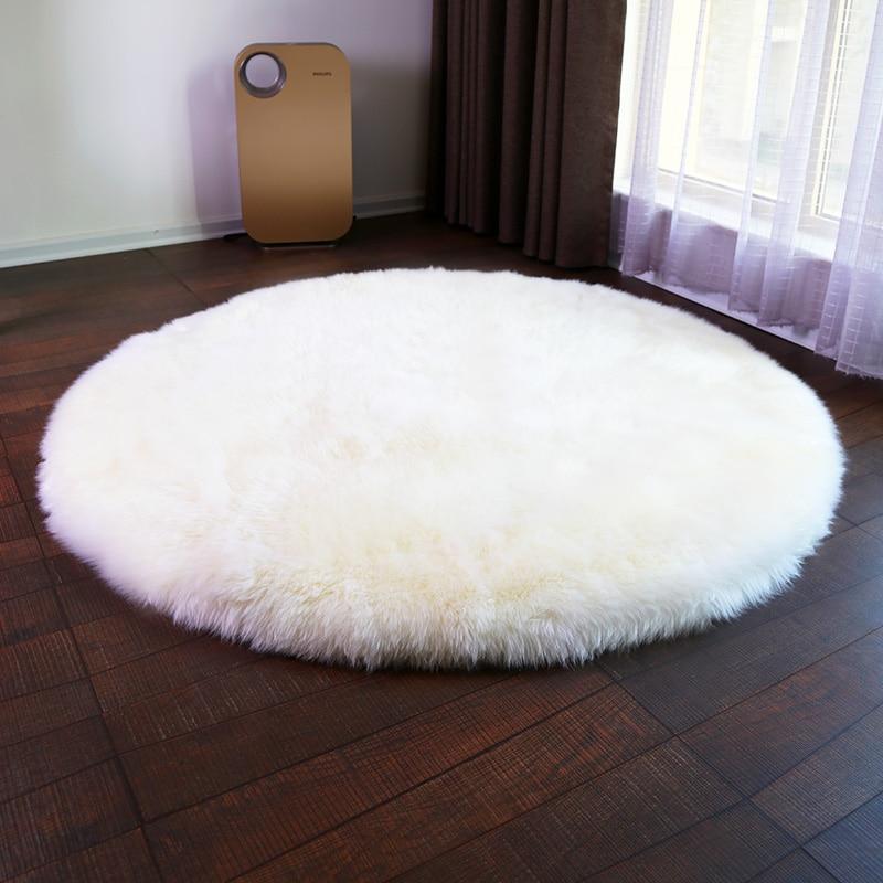 Tapis laine chevet épaissi rond tapis australien peau de mouton fourrure chambre tapis rond