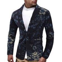 Блейзер, мужской костюм, осенняя одежда, винтажный этнический принт, на пуговицах, цветочный костюм, приталенный Блейзер, мужской пиджак, hombre, уличная одежда, новинка