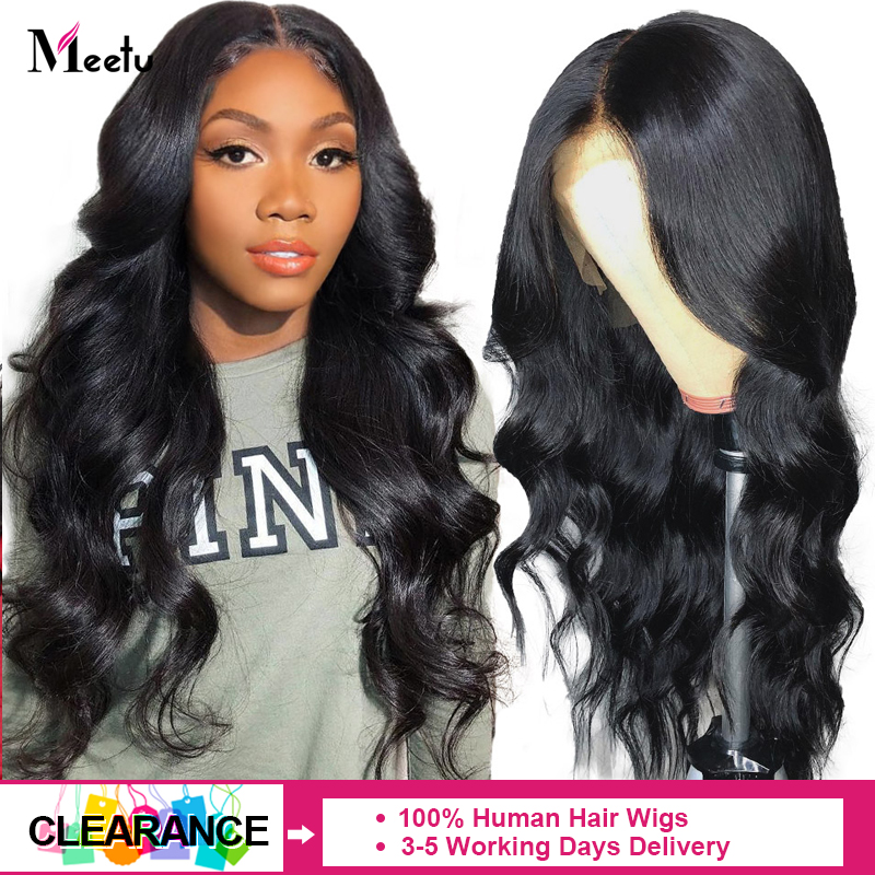Meetu Hair  Lace Front Human Hair Wigs Peruvian Body Wave 4x4 Lace Closure Wigs For Black Women Pre-plucked 150% Human Hair Wigs