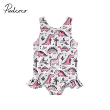 Летний купальный костюм для маленьких девочек, пляжный купальный костюм, комплект бикини, купальный костюм с динозавром, Цельный купальник, Tnkini