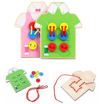 Baby Children Beads Lacing Board Wooden Toys Toddler Sew On Buttons Early Education Teaching Toys Puzzle Travel Game Toys Gift flyingtown montessori teaching aids balance scale baby balance game early education wooden puzzle children toys