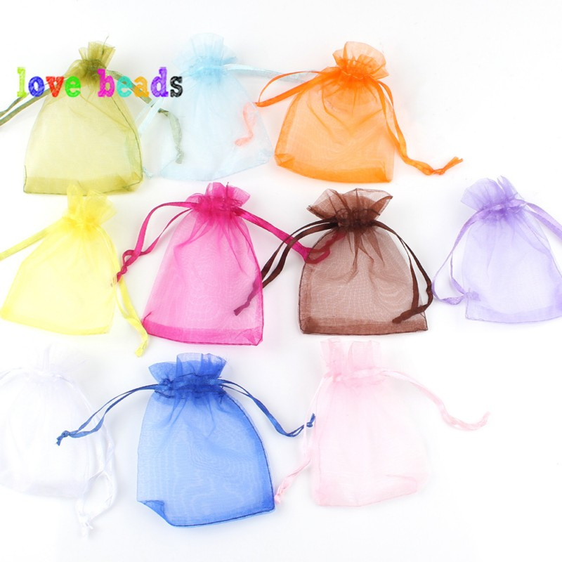 50pcs 7x9 9x12 10x15 13x18cm Gift Organza Bags Drawable Wedding Party Decoration Gift Bags Display Packaging Jewelry Pouches