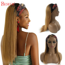Headband Wigs Hair Human-Hair-Scarf Deep-Wave-Curly-Machine Non-Lace No-Glueless Straight