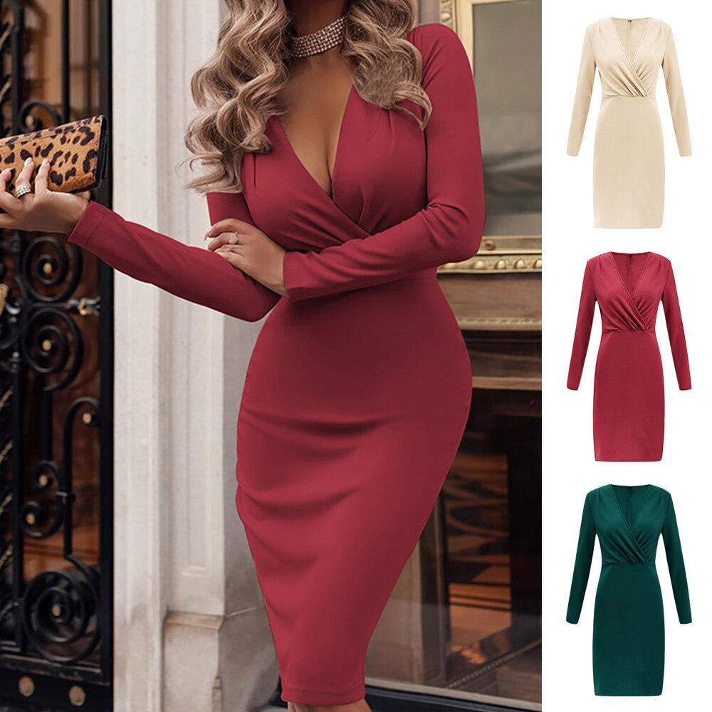 Women Long Sleeve Sexy Deep V Neck Pack Buttocks Skinny Bodycon Dress y2k clothes E-girl Slim Winter Sweater Dresses Vestidos