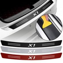 Amortecedor traseiro do carro decoração adesivo de fibra de carbono auto amortecedor traseiro tronco borda de carga etiqueta protetora decalques para bmw x1 accessorie