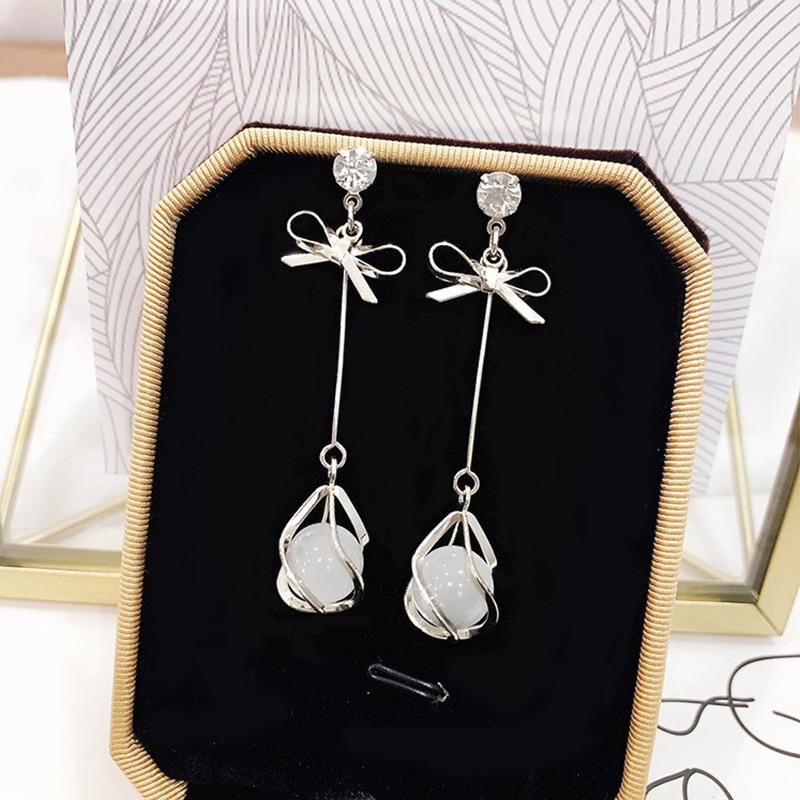 2019 New Crystal Pearl Tassel Earrings Female Long Paragraph Geometric Pendant Earrings Wedding Fashion Jewelry Jewelry Gifts