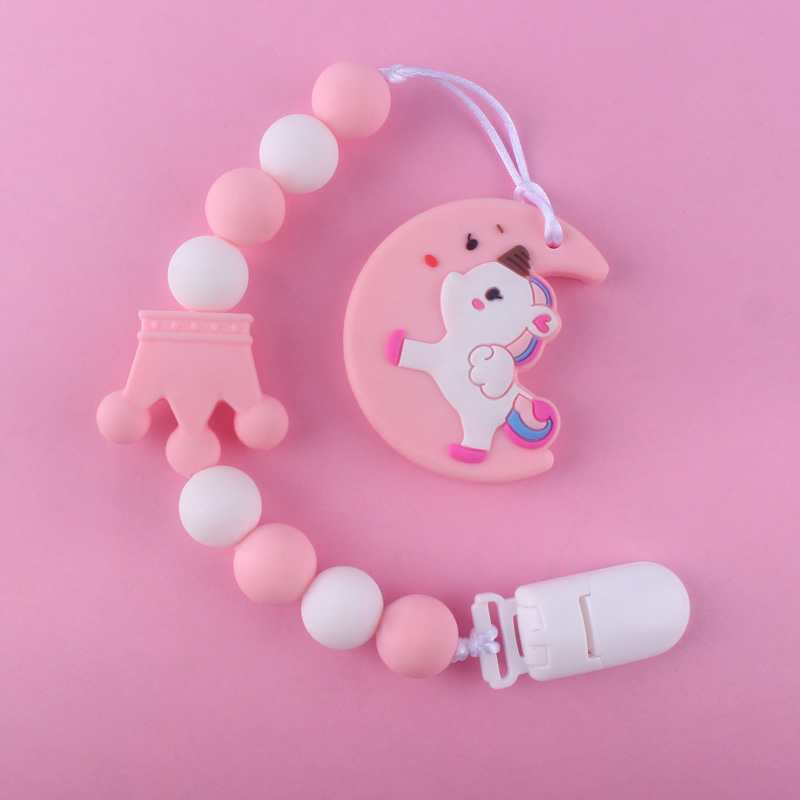 Cute Silicone Teethers And Silicon Teether Leash Strap 2Pcs/set Newborn Pacifier Clips Gift