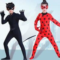 Ladybug Reddy Girl Cosplay Costume Children's Halloween Costume for Kids Role Playing Black Cat Noel Ladybug Girl Clothing Set