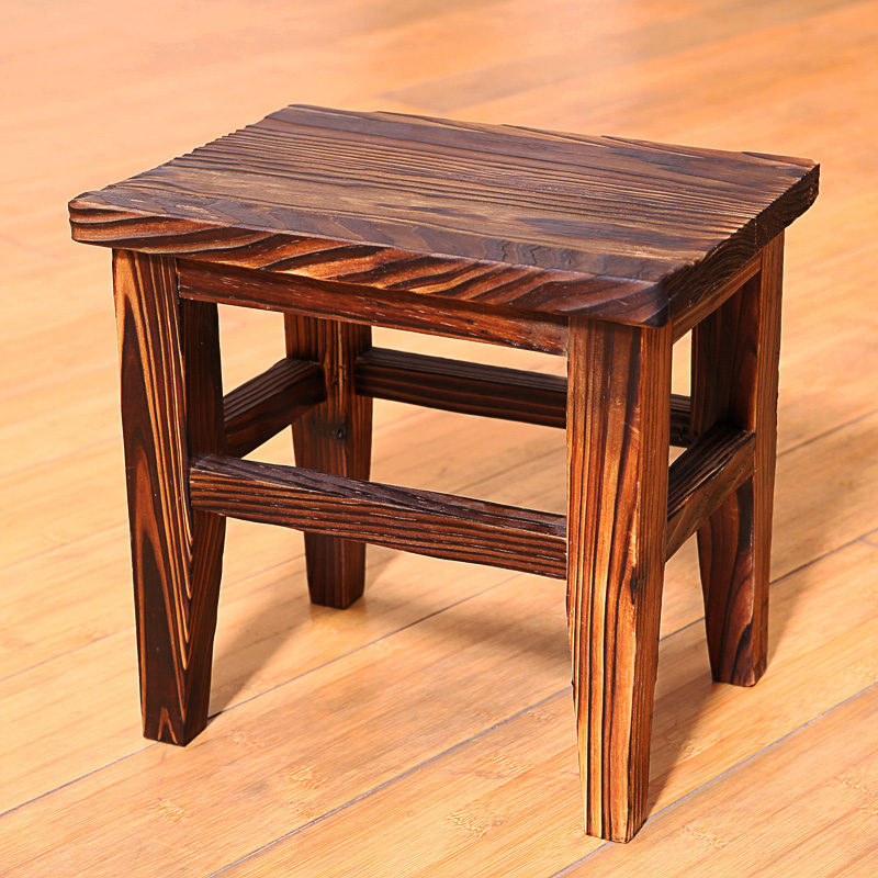 Thickened Household Retro Xiao Mu Stool Square Stool For Adults And Children Small Stool Wooden Stool Living Room Shoes Stool