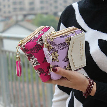 Coin Purses Cards Holder Tassels Zipper Heart Moneybags Woman Wallet Bags Lady Short Purse Girls Notecase Pocket Flower Wallets tonuox women wallets cute dogs animal pattern casual lady coin purse pocket handbags long moneybags wallet pouch dog purses bags