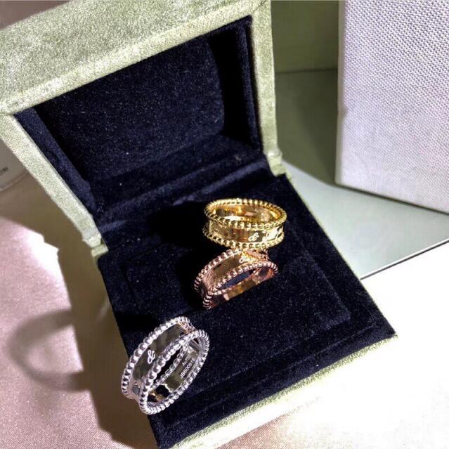 Top qualité 100% en argent Sterling 925 Signature perlée bande anneaux femmes de haute qualité élégant marque chaude bijoux argent anneaux cadeaux
