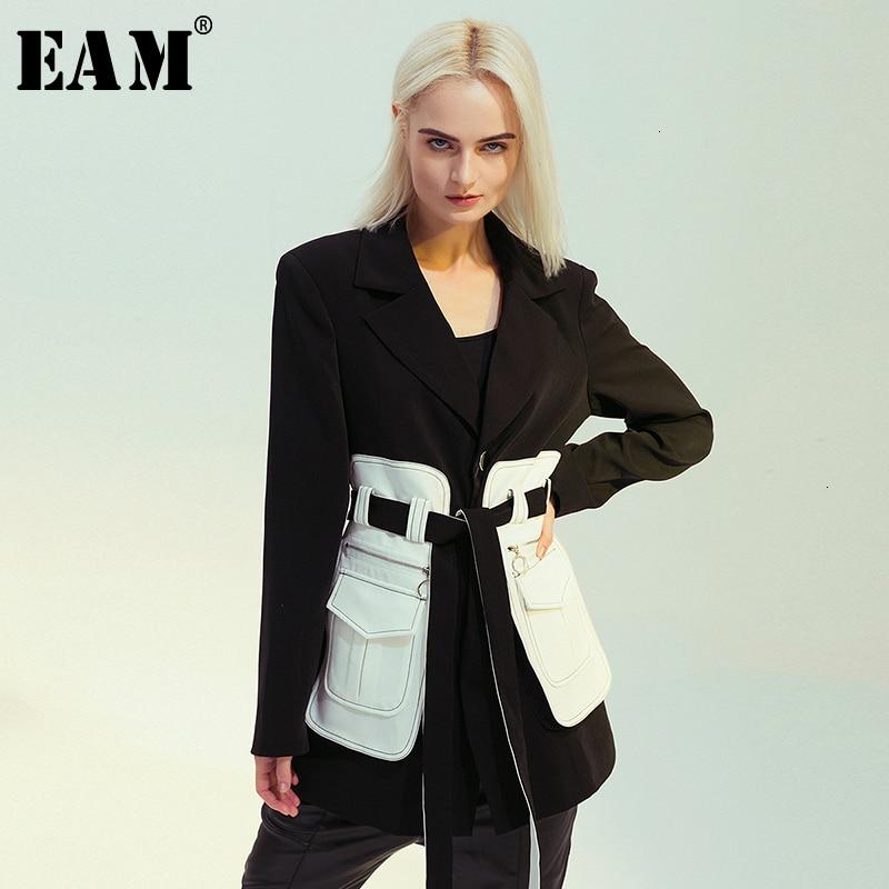 [EAM] Loose Fit Black Pocket Split Contrast Color Jacket New Lapel Long Sleeve Women Coat Fashion Tide Spring Autumn 2020 1M500