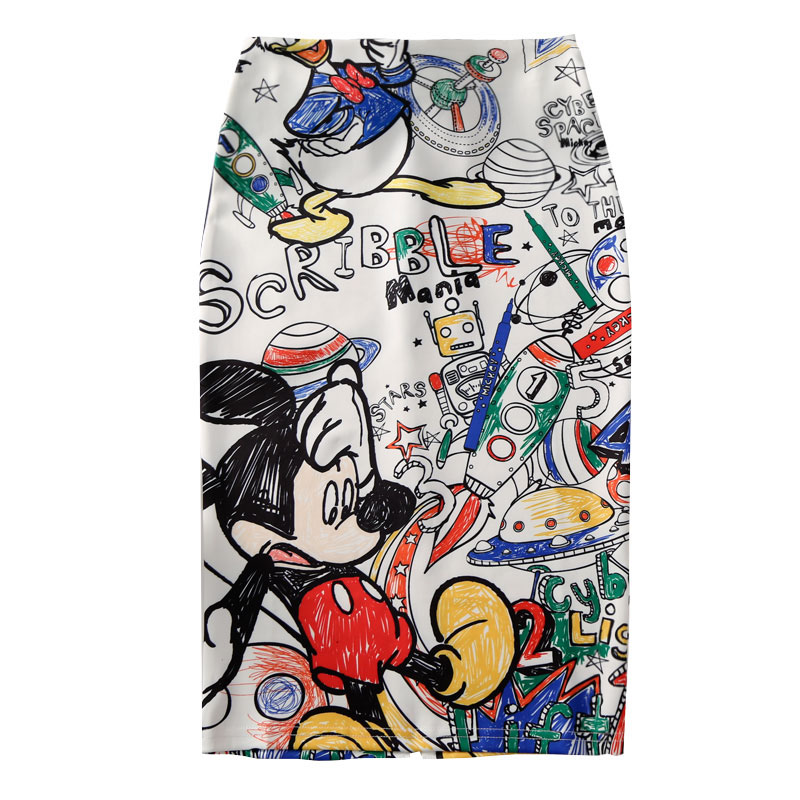 Women Harajuku Pencil Skirts Colorful Cartoon Letters Printing High Waist Slim Midi Split Sexy Female Falda