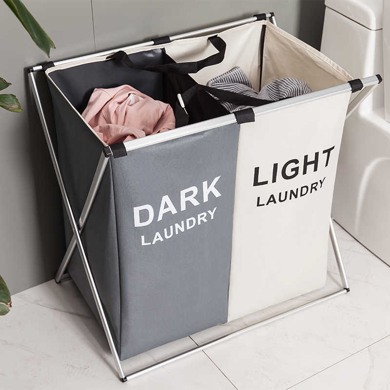 Collapsible Hamper 2//3 Sections Bathroom Laundry Basket Dirty Cloth Storage Bag
