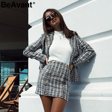 BeAvant Two-piece set plaid tweed women suit Casual streetwear blazer suits fema