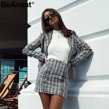 BeAvant Two-piece set plaid tweed women suit Casual streetwear blazer suits female blazer sets Office ladies blazer tops 2019