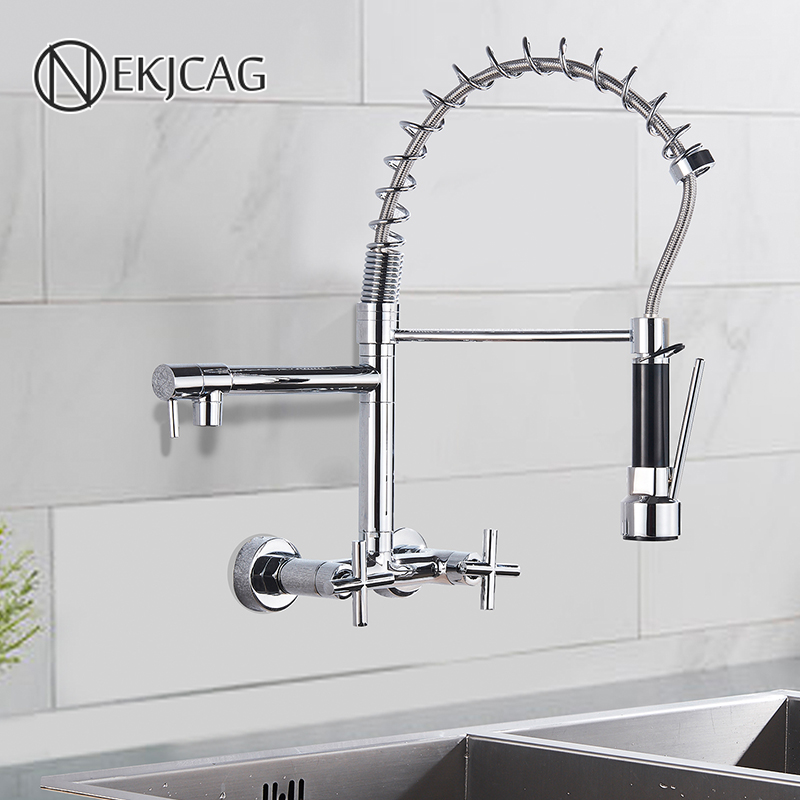 chrome spring kitchen faucet 360 rotation pull down hand sprayer with buckle kitchen taps wall mounted cold hot water mixer taps
