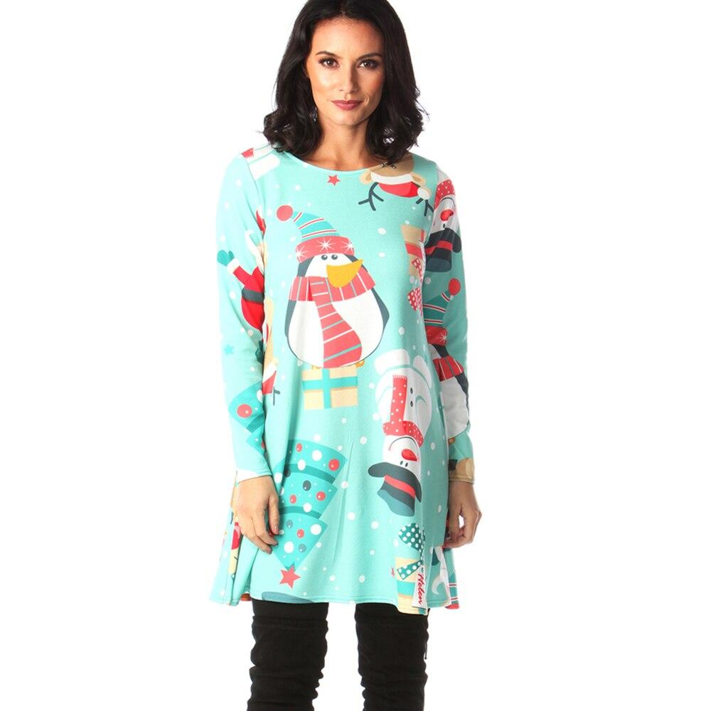 Print Long Sleeve Autumn Winter Christmas Dress Women 19 Casual Loose Short Party Dress Plus Size S-5XL Vestidos 31