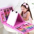 208 Pçs/set Azul Rosa Pintura Paint Tool Set Brinquedos de Desenho Caneta Aquarela para Crianças Presentes de Natal de Ano Novo de Aniversário Brinquedos
