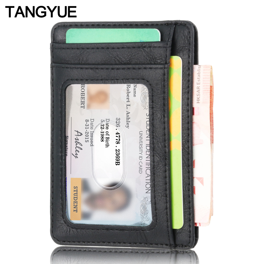 Men Women Leather ID Credit Card Holder Pilot Rfid Card Protection Wallet Bank Cardholder Slim For Card Case Pocket Crazy Horse