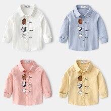 Boy Shirt Spring Turn-Down-Collar Full-Sleeve Kids Cotton Children's Cute Casual Autumn
