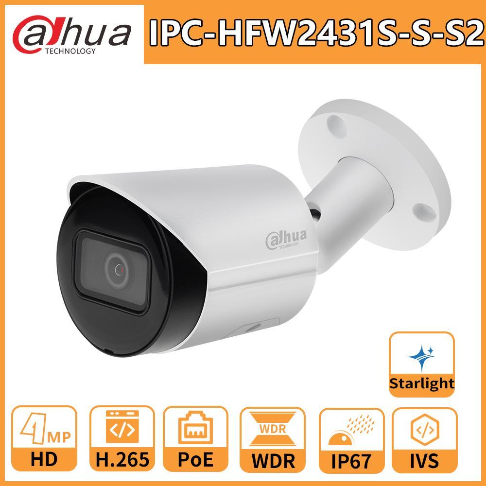Dahua câmera ip IPC-HFW2431S-S-S2 4mp câmera luz das estrelas poe sd slot para cartão de áudio alarme h.265 + 60m ir ivs ip67