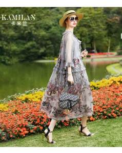 Silk Dress Embroidery Length Medium Women's A-Line Spring Temperament