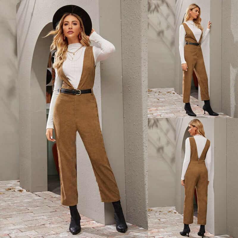 Goocheer Fashion Women's Corduroy Jumpsuit Autumn Winter Ladies Casual Loose Dungarees Playsuit Long Trousers Overalls
