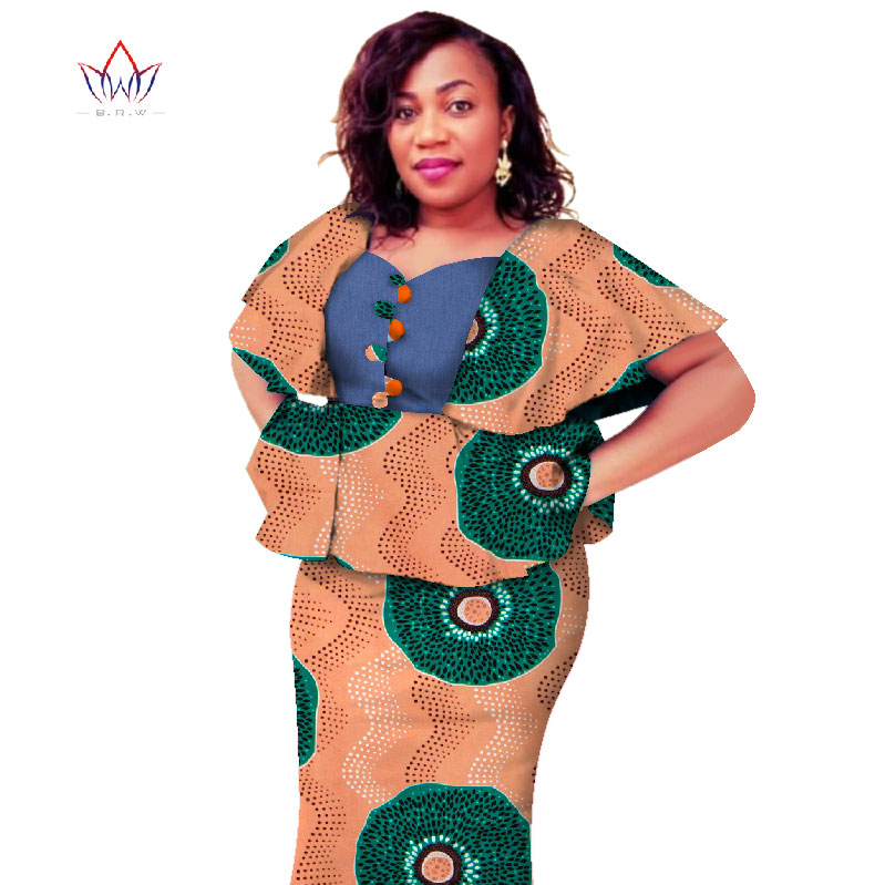 New Traditional African Dress Plus Size 2 Pieces Dashiki Skirt Set Knee Length Bazin Rche Femme V-neck Clothing 5xl 6xl WY2693