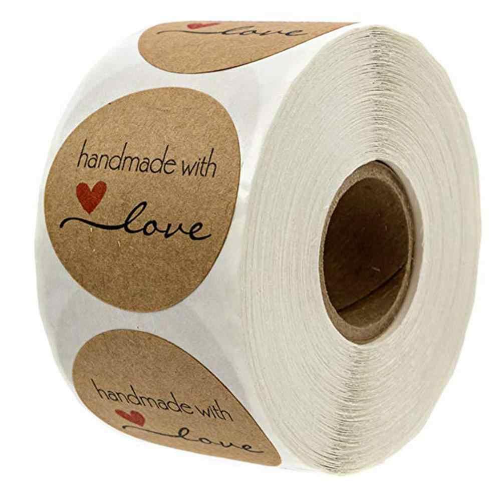 500/1000 قطعة 1.5 بوصة يدوية الصنع مع الحب التسمية ملصقات الزفاف لاصق ملصق كرافت تسميات مستديرة أسعار الجملة