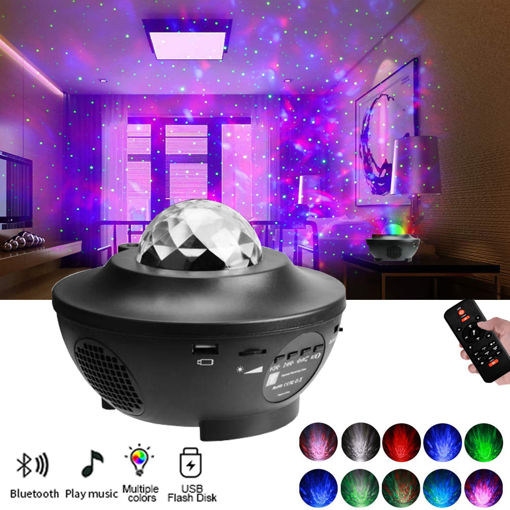 Ocean Wave Effect LED Projector Starry Sky Night Light Music Player Colorful Rotating Luminaria For Kids Bedroom Beside Lamp