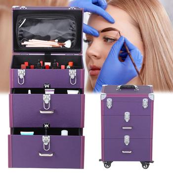 Rolling luggage bag for cosmetic makeup case trolley salon case large capacity trolley storage case nail art tattoo tool box