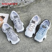 Женские кроссовки на платформе синие или серые повседневные