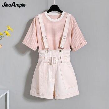 2021 Summer Korean Fashion Striped T-shirt Overalls Set for Women Leisure Joker Girls Student High Waist Shorts Clothing Sets 1