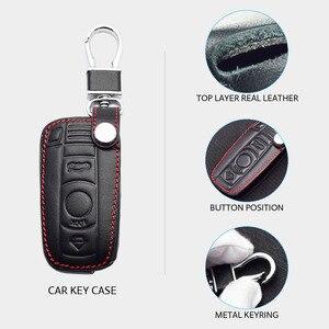 Image 3 - Leather Car Key Case For BMW E90 E60 E70 E87 1 3 5 6 Series M3 M5 X1 X5 X6 Z4 Keychain Holder Protector Cover Bag Auto Accessory