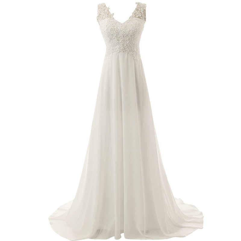 Luxury Beach Bridal Gown Chiffon Lace Appliques Wedding Dress 2020 White/Lvory Backless Vestido De Noiva Boho Wedding Dress