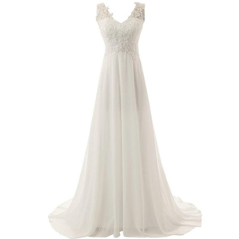 Luxury Beach Bridal Gown Chiffon Lace Appliques Wedding Dress 2020 White/Lvory Backless Vestido De Noiva Boho Wedding Dress