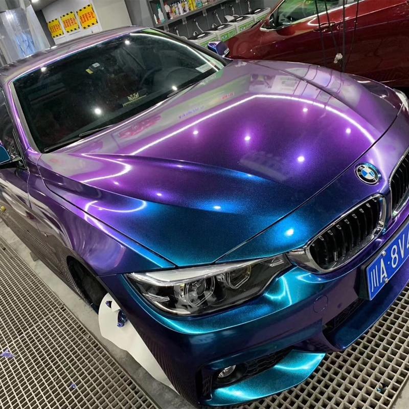 Película de cuerpo de coche DIY brillante Premium perla de camaleón etiqueta de vinilo brillante camaleón azul púrpura para automóviles película de vinilo
