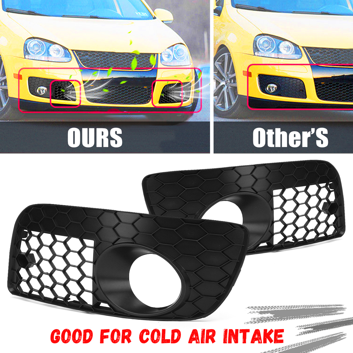 Pair Honeycomb Hex Mesh Fog Light Open Vent GrillesCar Accesorios  For Volkswagen For VW For Jetta MK5 GTI GLI 2006-2009