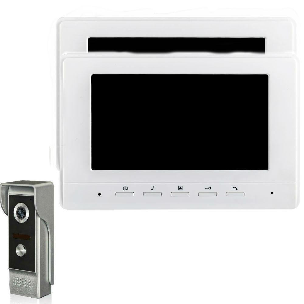 Home Security Video Intercom IR Camera 7''Inch Monitor Wired Video Door Phone Doorbell Speakephone Intercom System