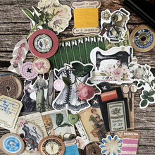32pcs retro European and American SEW decorative sticker DIY scrapbooking journal album diary collage primer decorative stickers