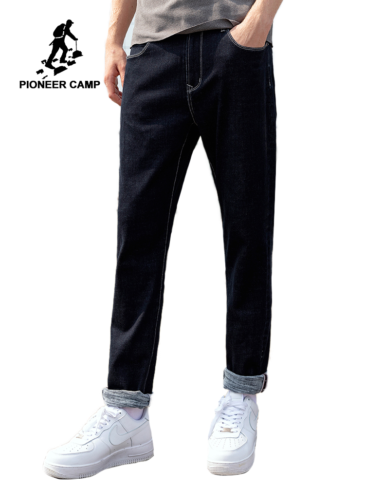 Pioneer Camp Winter Jeans Men Thick Cotton Straight Streetwear Black Solid Color Casual Pants Male ANZ903534T